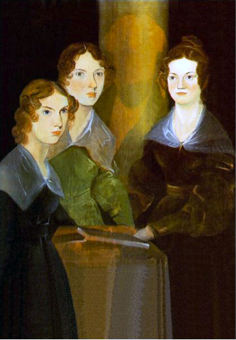 A painting of the three Brontë sisters by Branwell Brontë; from left to right,  Anne, Emily, and Charlotte. In the centre of portrait is the shadowy image of  Branwell Brontë, who painted himself out of the picture.
